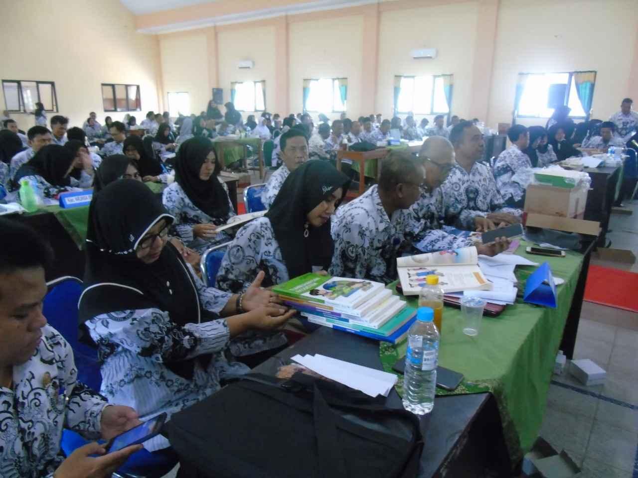 Guru mengikuti workshop penerapan HOTS dan pelatihan olympiade sains tingkat SD, Senin 25 Maret 2019.