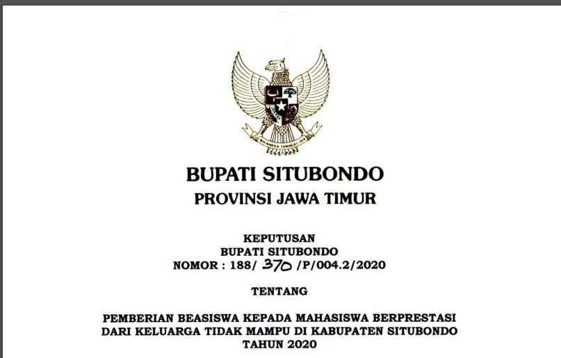 SK PENETAPAN PENERIMA BEASISWA SITUBONDO UNGGUL 2020