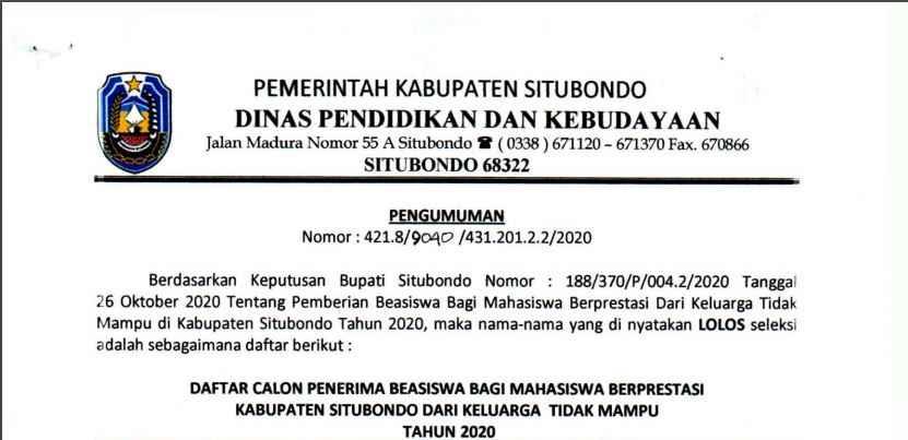 PENGUMUMAN PENERIMA BEASISWA SITUBONDO UNGGUL 2020